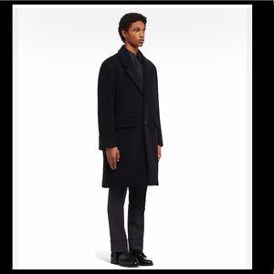 New Prada Mens Single Breasted Wool Coat Italy 54R